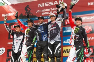 Dh Podium Left to right: Leov, Hill, Barel, Minnaar, Fairclough. Pic: Sebastian Schieck