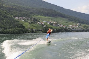 Ich auf dem Wakeboard. First time ever! Pic: Silvan Buerge